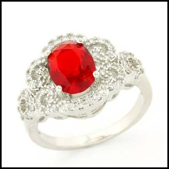 Fine Jewelry Brass with 3x White Gold Overlay, 2.54ctw Ruby & 0.30ctw White Sapphire Ring Size 7.25