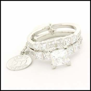 Fine Jewelry Brass with 3x White Gold Overlay, 3.46ctw (AAA Grade) CZ's Bridal Engagement Set of Two Rings Size 7