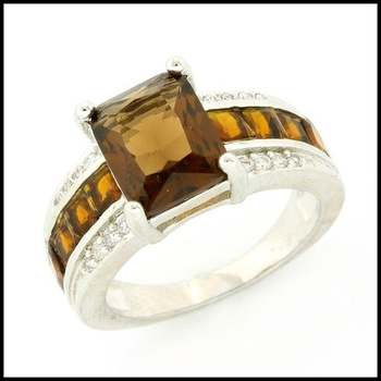 Fine Jewelry Brass with 3x White Gold Overlay, 4.93ctw Citrine & 0.08ctw White Sapphire Ring Size 7