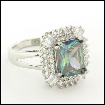 Fine Jewelry Brass with 3x White Gold Overlay, 5.10ctw Green Mystics & White Sapphire Ring Size 6