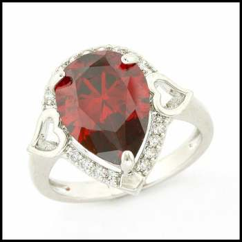 Fine Jewelry Brass with 3x White Gold Overlay, 5.41ctw Ruby & 0.51ctw White Sapphire Ring Size 7.5