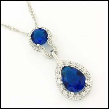 Fine Jewelry Brass with 3x White Gold Overlay, 7.45ctw Sapphire & 0.45ctw White Sapphire Necklace