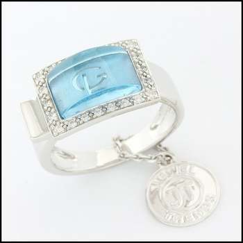 Fine Jewelry Brass with 3x White Gold Overlay Blue Topaz & White Sapphire Ring Size 6.75