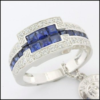 Fine Jewelry Brass with 3x White Gold Overlay Blue&White Sapphire Ring Size 6.5