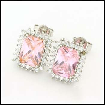 Fine Jewelry Brass with 3x White Gold Overlay, Pink & White Sapphire Earrings