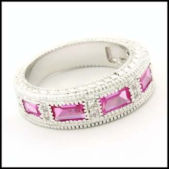 Fine Jewelry Brass with 3x White Gold Overlay,  Pink & White Sapphire Ring Size 6