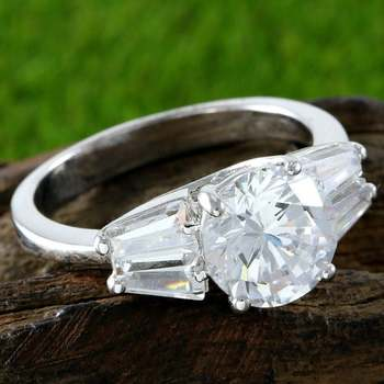 Fine Jewelry Brass with 3x White Gold Overlay, White Sapphire Ring Size 7