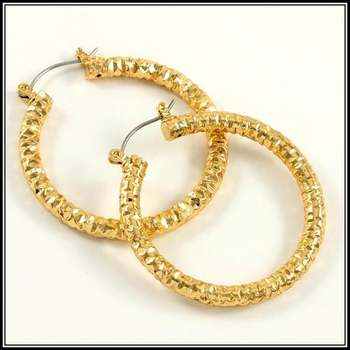 "Fine Jewelry Brass with 3x Yellow Gold Overlay 1.5"" in Diameter Hoop Earrings"