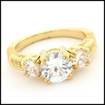 Fine Jewelry Brass with 3x Yellow Gold Overlay 2.60ctw White Topaz Ring Size 7.5
