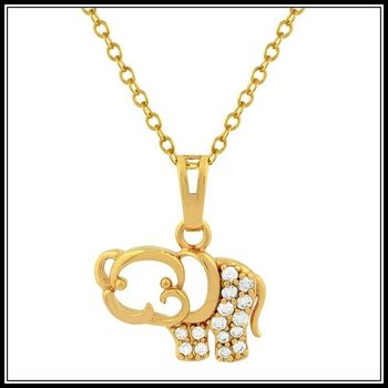 Fine Jewelry Brass with 3x Yellow Gold Overlay AAA+ Grade Cubic Zirconia Elephant  Necklace