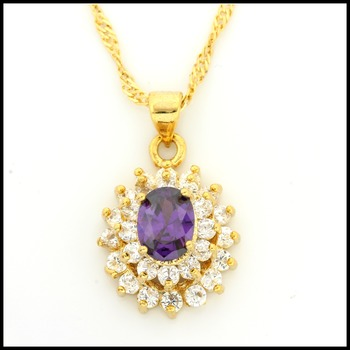 Fine Jewelry Brass with 3x Yellow Gold Overlay Amethyst Necklace