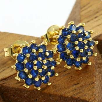 Fine Jewelry Brass with 3x Yellow Gold Overlay Beautifully Created Sapphire Stud Earrings
