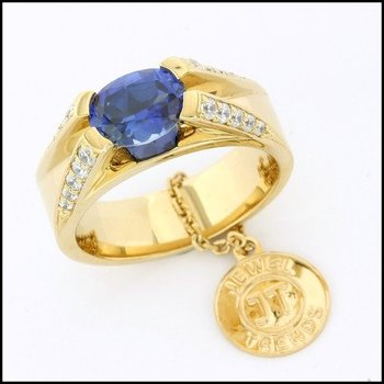 Fine Jewelry Brass with 3x Yellow Gold Overlay Blue & White Sapphire Ring Size 6.5