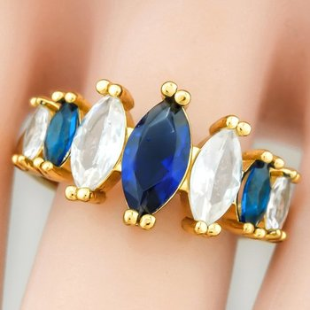 Fine Jewelry Brass with 3x  Yellow Gold Overlay Blue & White Topaz Ring Size 8
