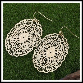 Fine Jewelry Brass with 3x Yellow Gold Overlay Boho Chic Filigree Earrings