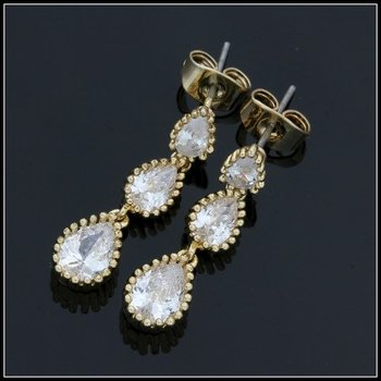 Fine Jewelry Brass with 3x Yellow Gold Overlay Cubic Zirconia Earrings
