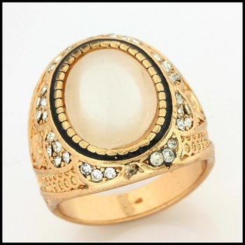 Fine Jewelry Brass with 3x Yellow Gold Overlay Mother of Pearl & White Sapphire Ring Size 6.5
