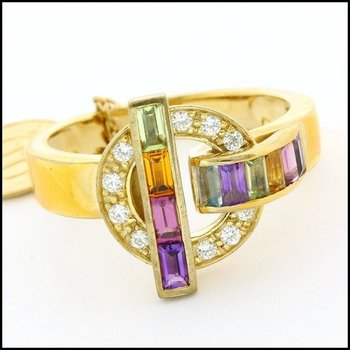 Fine Jewelry Brass with 3x Yellow Gold Overlay Multi Color Gemstone Ring Size 7