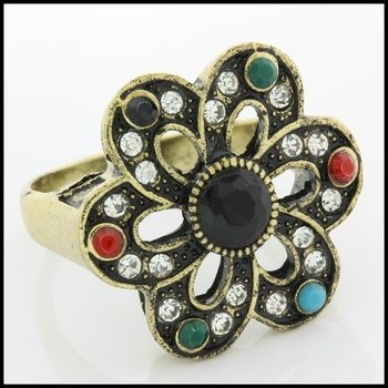 Fine Jewelry Brass with 3x  Yellow Gold Overlay Multicolor Stones Ring 11