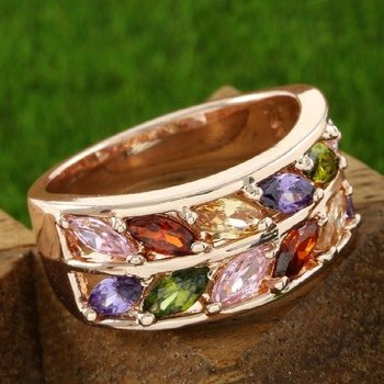 Fine Jewelry Brass with 3x  Yellow Gold Overlay Multicolor Stones Ring 6