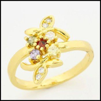 Fine Jewelry Brass with 3x  Yellow Gold Overlay Multicolor Stones Ring 8