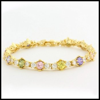 Fine Jewelry Brass with 3x Yellow Gold Overlay Multicolor Stones Tennis Bracelet
