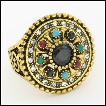 Fine Jewelry Brass with 3x Yellow Gold Overlay Onyx, Multicolor Gemstones & (AAA Grade) CZ's Ring Size 8