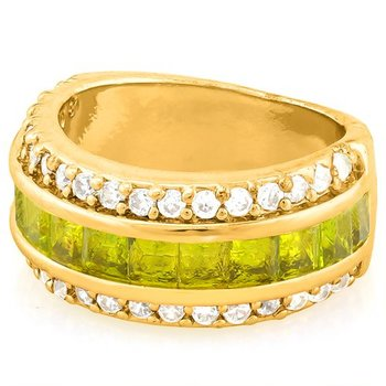 Fine Jewelry Brass with 3x Yellow Gold Overlay Peridot & White Sapphire Ring Size 6.5