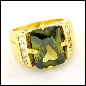Fine Jewelry Brass with 3x Yellow Gold Overlay,  Peridot & White Sapphire Ring Size 7