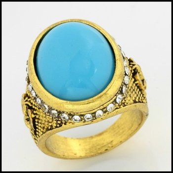 Fine Jewelry Brass with 3x Yellow Gold Overlay Turquoise & AAA Grade CZ Ring Size 6.5