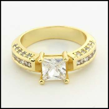 Fine Jewelry Brass with 3x Yellow Gold Overlay, White Sapphire Ring Size 6