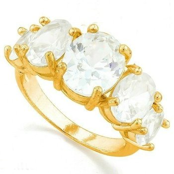 Fine Jewelry Brass with 3x Yellow Gold Overlay White Sapphire Ring Size 6.5