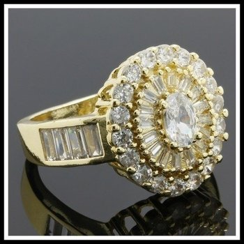 Fine Jewelry Brass with 3x Yellow Gold Overlay White Sapphire Ring Size 7