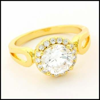 Fine Jewelry Brass with 3x Yellow Gold Overlay, White Sapphire Ring Size 8