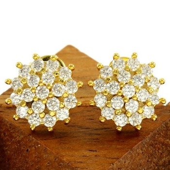 Fine Jewelry Brass with 3x Yellow Gold Overlay White Sapphire Stud Earrings