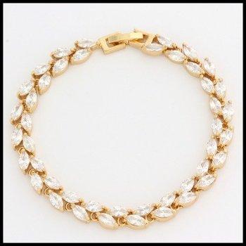 Fine Jewelry Brass with 3x Yellow Gold Overlay White Sapphire Tennis Bracelet