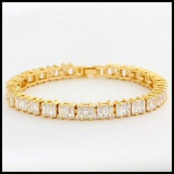 Fine Jewelry Brass with 3x Yellow Gold Overlay White Sapphire Tennis Bracelet