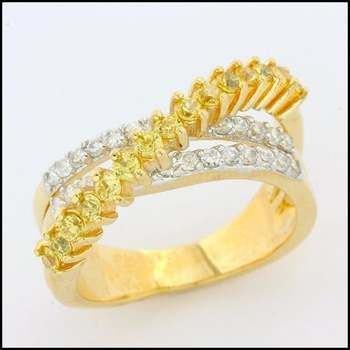 Fine Jewelry Brass with 3x Yellow Gold Overlay Yellow&White Topaz Ring Size 7