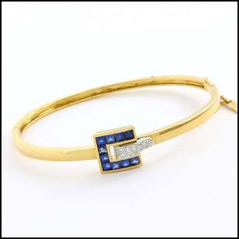 Fine Jewelry Brass with 3x Yellow&White Gold Overlay Blue&White Sapphire Bracelet
