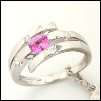 Fine Jewelry Brass with 3x14k Gold Overlay Pink Topaz Ring Size 6