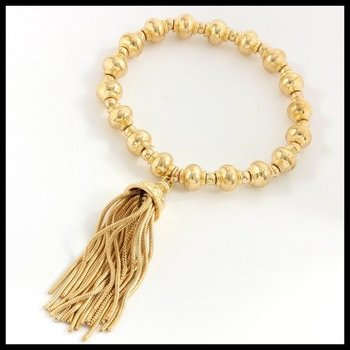Fine Jewelry Brass with 3x14k Gold Overlay Strand Stretch Tassel Bracelet