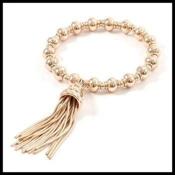 Fine Jewelry Brass with 3x14k Gold Overlay Strand Stretch Tassel Bracelet