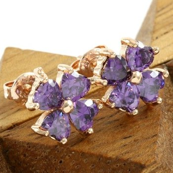 Fine Jewelry Brass with 3x14k Rose Gold Overlay Created Amethyst Earrings