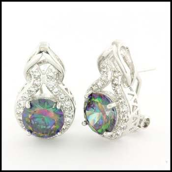 Fine Jewelry Brass with  Gold Overlay Beautifully Created Mystic Topaz Earrings