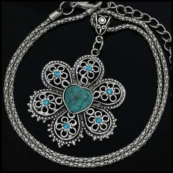 Fine Jewelry Brass with White Gold Overlay, 12x12mm  Pressed Turquoise & (AAA) Grade CZ's Necklace
