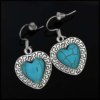 Fine Jewelry Brass with White Gold Overlay, 12x12mm Pressed Turquoise Heart Shape Earrings