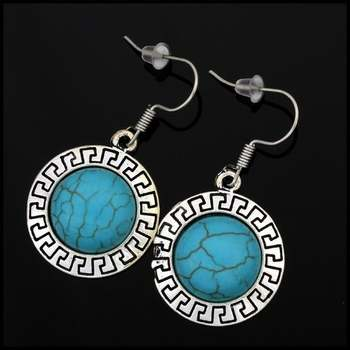 Fine Jewelry Brass with White Gold Overlay, 13mm in Diameter Pressed Turquoise Round Shape Earrings