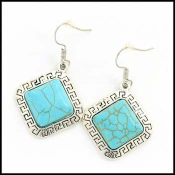 Fine Jewelry Brass with White Gold Overlay, 15x15mm Pressed Turquoise Earrings