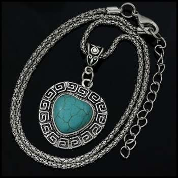 Fine Jewelry Brass with White Gold Overlay, 16x16mm  Pressed Turquoise Heart Shape Necklace