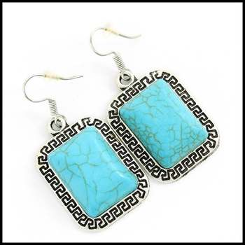 Fine Jewelry Brass with White Gold Overlay,  20x15mm Pressed Turquoise Square Shape Earrings